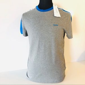 CALVIN KLEIN Mens Gray T Shirt Blue Pima Cotton